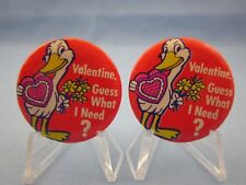 """~L@K~ """"Valentine'S Day"""" - Vintage Comic Pinback Buttons -Lot of 2 Seagull Pins"""