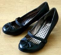 Hush Puppies Persian Ladies Black Leather Mary Jane Heel Shoes Size UK 4 EU 37
