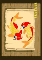 2 Koi Carp Fish Stencil  350 micron Mylar not thin stuff #Fish06