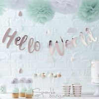 HELLO WORLD BABY SHOWER BUNTING /Garland/Banner -Unisex Party Hanging Decoration