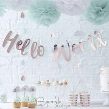 HELLO WORLD BABY SHOWER BUNTING / Garland / Banner / Unisex Hanging Decoration