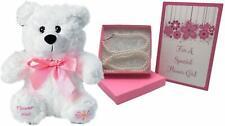 Flower Girl Gift Set - With Thank You Card, Plush Bear & Necklace/ Bracelet Set