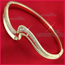 24K GOLD GF LUXURY DIAMOND INFINITY ETERNITY WAVE BAND WOMENS SOLID BANGLE 58mm