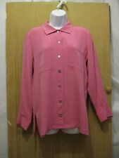 NWT Chicos Pink Silk Long Sleeved Caviar Suede Button Down Top (Chicos Size) 1