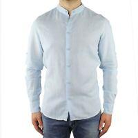 Camicia Uomo Collo Coreana Lino Slim Fit Manica Lunga Estiva Sartoriale Celeste