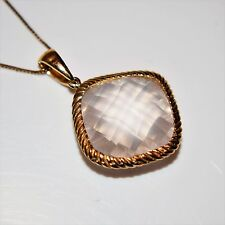 "Large Checker Cut Rose Quartz 9ct Yellow Gold Pendant and 17"" Chain Necklace"