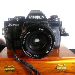 MINOLTA X-700 SLR W/ROKINON Auto SC Lens 28mm Cap & Strap advance stuck.