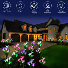 2 Pack Solar Power Lily Flower LED Lights Garden Stake Lamp Yard Decor Outdoor