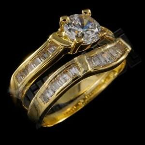 18K Yellow Gold Engagement Band Set Iced CZ Women's Ladies Bridal Wedding Ring