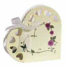50 Ivory Wedding Favour Heart Shaped Cream Floral Confetti Cones Boxes