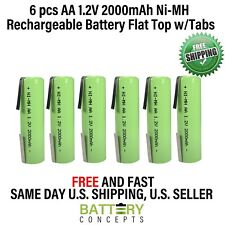 6PCS AA 1.2V 2000mAh Ni-MH Rechargeable Batteries Cell Flat Top w/ Tabs