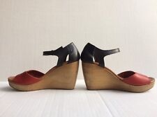 Madewell 1937 Footwear J Crew Red + Navy Leather Wooden Platform Wedges Size 7