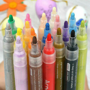Waterproof Acrylic Paint Pens Markers Set Permanent Art Rock Glass Metal Pebbles