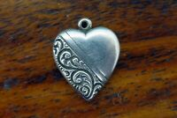 Vintage silver REPOUSSE PUFFY HEART FILIGREE SWEETHEART LOVE VALENTINE charm