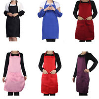 Apron Commercial Restaurant Home Bib Spun Polyester Kitchen Aprons(2 Pockets)