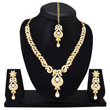 Wedding Indian Fashion Jewelry Bridal Necklace Set Earring Tikka Gold Plated
