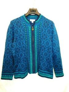 Appleseeds PXL Blue Purple Nordic Cardigan Sweater Full Zip Petite XL Wool Blend