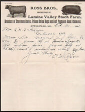 1907 Otterville Mo - Lamine Valley Stock Farm - Ross Brothers Letter Head Rare
