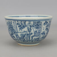 China antique Porcelain Ming wanli blue white hand painting character cup bowl