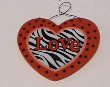 RED BLACK & WHITE ZEBRA PRINT LOVE VALENTINES DAY HANGING WOOD HEART DECORATION