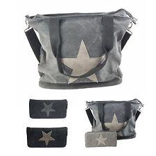 Stern Damen Tasche Stoff Canvas Schultertasche Bag Shopper Portemonnaie Neu
