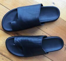 BASSIKE 100% italian Black leather slides  sz 40