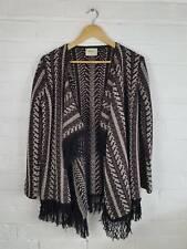 Papaya Black / Brown / Creeam Chunky Knit Cardigan Coatigan Size S UK 8 10