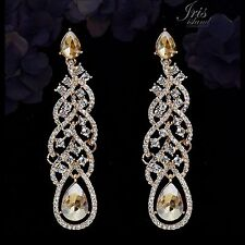 18K Gold Plated GP Topaz Crystal Rhinestone Wedding Drop Dangle Earrings 00122