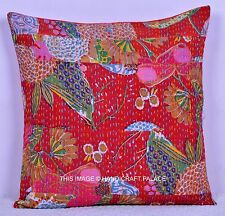 """Kantha Patchwork Cotton Cushion Cover Red Color Pillow Case Throw 16"""" Sofa Decor"""