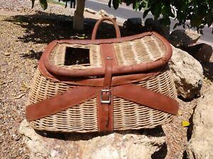 Vintage Woven Reed Fishing Basket Creel w/ Leather Binding