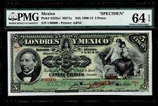 """Mexico $5 Pesos""""SPECIMEN""""Londres Y Mexico"""