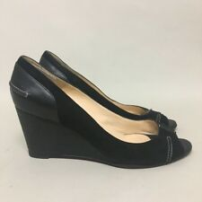pre-loved authentic CHRISTIAN LOUBOUTIN black suede & leather p toe peeWEDGE HEE
