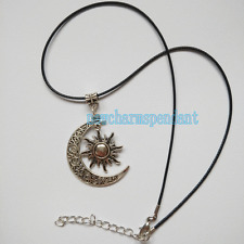 New Vintage Silver Crescent Moon Sun Charms Pendant wax Leather choker Necklace