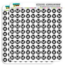"Letter M Initial Black White 0.5"" Scrapbooking Crafting Stickers"