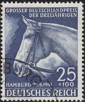 Stamp Germany Mi 779 Sc B191 1941 WWII Reich Blue Ribbon Race Hamburg Horse Used