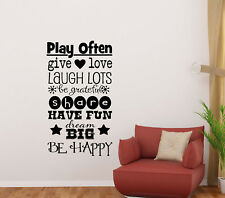 Playroom Rules Sign Wall Decal Kids Room Children Quote Door Vinyl Sticker 829