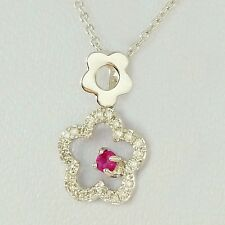 NATURAL RUBY & 25 DIAMOND WHITE GOLD PENDANT WITH 45CM SOLID GOLD NECKLACE CHAIN