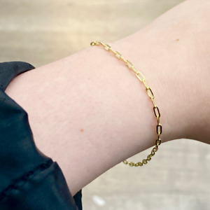 """14K Yellow Gold 2MM Paperclip Bracelet - 7.5"""" - Made in Italy"""