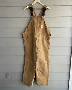 Vintage 90s Carhartt Tan Beige Overalls Made in USA Men's Size 42x30 Retro WIP