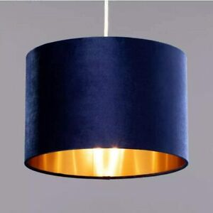 CGC Navy Blue Velvet Gold Inner Drum Table Lamp Ceiling Lounge Pendant Shade