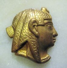 Egyptian Revival Pharaoh Head Vintage Raw Brass Stamping, Embellishment, Finding