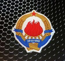 "Yugoslavia SFRJ crest Flag Proud Domed Decal Car Emblem 3D 2.5"" Srbija Hrvatska"