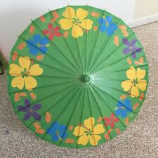 """VTG JAPANESE OR CHINESE RICE PAPER BAMBOO HAND PAINTED UMBRELLA PARASOL 28""""L"""