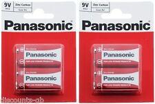 x4 Panasonic 9V Zinc Carbon Batteries - PP3 (MN1604 / 6F22 / 6LR61) 2 Packs of 2