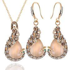 Elegant Teardrop Opal Crystal Peacock Necklace Earrings Wedding Jewelry Sets Hot