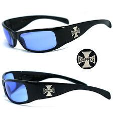 New Choppers Bikers Mens Designer Sunglasses - Blue Lens C11 B