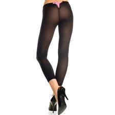 Black Opaque Footless Leggings w/ Lace Up Back One Size Regular  ML35741