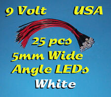 25 PRE WIRED 5mm ~ WIDE WHITE LEDs ~ LIGHTS 9 VOLT 9V PREWIRED LED