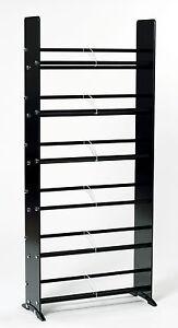 TransDeco Black/Chrome Glass CD DVD Rack / Stand 336 CD 234 DVD 138 VHS - NEW
