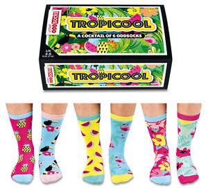 UNITED ODDSOCKS TROPICOOL FRUIT & JUNGLE INSPIRED ODD SOCKS LADIES SIZE UK 4 - 8